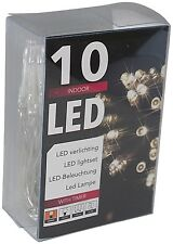 10er Led-lichterkette Batteriebetrieb Warmweiss Timer transparentes Kabel (20102)