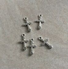 Antique Silver, Cross Charms, 20x11mm, Double Sided, 5pcs, Diy Jewellery Making