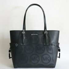 NWT MICHAEL MICHAEL KORS VOYAGER PERFORATED MK LOGO LEATHER TOTE BLACK