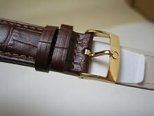 20MM BROWN LEATHER STRAP BAND YELLOW GOLD SMALL LOGO BUCKLE FOR OMEGA WATCH