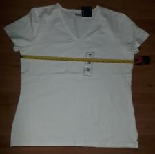 Basic Editions Women's Tee Modern White XXL NWOT Short Sleeve Shirt 95% Cotton