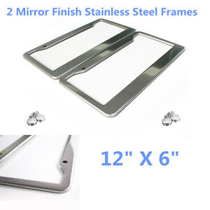 "2 Pcs 12"" X 6"" Stainless Steel License Plate Frame Cover +Screw Caps for US Car"