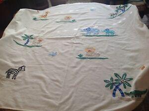 Saturday Knight Fabric Shower Curtain JUNGLE Animals Theme 100% Cotton Kids