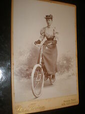 Old cabinet photograph woman hat bicycle by Florian Aix-Les-Bains France c1890s
