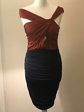 Burnt Orange / Rust Twisted Top and Navy Blue Silk Ruched Skirt Bodycon DRESS 10