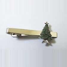 Christmas Tree Santa Claus Winter Tie Clip Silver Black Wedding Bar Clasp