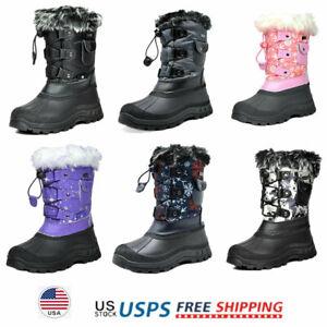 Moceen Toddler Boys Snow Boots Girls Warm Faux-Fur Lightweight Outdoor Button Winter Boot,Black,8204 CN20
