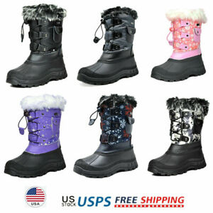 JACKSHIBO Girls Boys Outdoor Waterproof Winter Snow Boots,Pink,11.5 M US Little Kid//17.8 cm//30