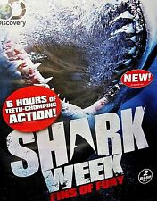 Shark Week: Fins of Fury NEW Blu-ray Disc, 2-Disc Set,5 HOURS,Jaws, Discovery TV
