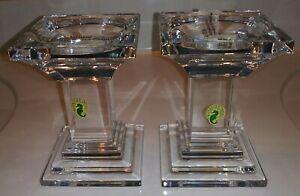 Waterford Crystal Metropolitan Pillar Candle Holders PAIR, New