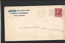 SPRINGFIELD, OHIO 1904 COVER, ADVT. HARRIS LEATHER FURNITURE, CLARK CO 1804/OP.