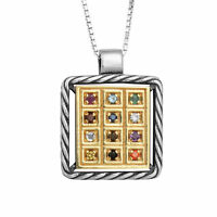 Kabbalah Pendant The Priestly Breastplate Hoshen Crystals CZ Silver 925 & Gold9K