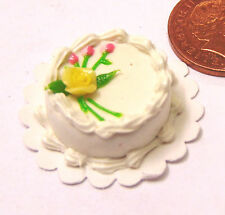 1:12th Scale Cake With White Icing Dolls House Miniature Bakery Accessory T4