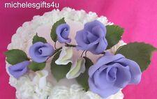 Gum Paste Sugar Purple Lavender Rose Rosebuds Flowers Cake Decorating Bouquet