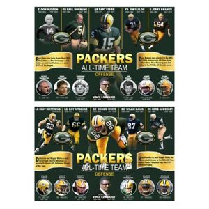 """Packers All-Time Teams-- 11 on Offense & 11 on Defense -- Two 19""""x13"""" Posters!"""