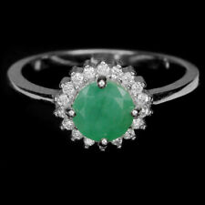 NATURAL GREEN EMERALD ROUND & WHITE CZ STERLING 925 SILVER HALO RING SIZE 6.25