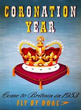 1953 Coronation Britain England United Kingdom Travel Poster Advertisement