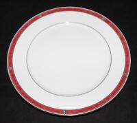 Christofle Porcelain China OCEANA ROUGE Red 7621 Dinner Plate 10 1/2""