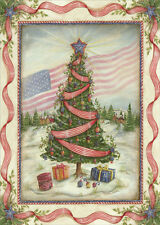 American Flag and Tree - Box of 16 Patriotic Christmas Cards by LPG Greetings