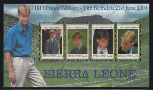 Sierra Leone 2000 Prince William Birthday S/S Sc# 2283 NH