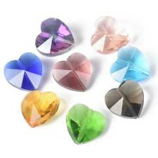 50pcs Mixed 14mm Heart Prism Crystal Glass Loose Beads lot for Jewelry Making