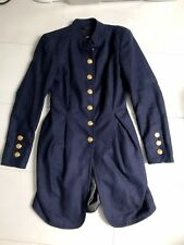 ASOS Navy Blue Military Fitted Coat Jacket Size 8 Gold Buttons
