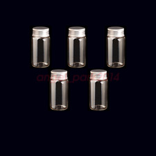 New 50 Pcs 22x50mm Small Clear Message Bottles Glass Vials 10ml With Screw Caps