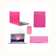 "5 in1 Crystal HOT PINK Case for Macbook PRO 13""+Key Cover+LCD Screen+ Bag+Mouse"