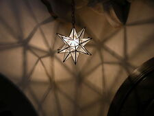 """Moravian  13.5"""" clear glass star with antique bronze trim and ceiling canopy"""