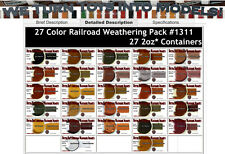 27-Color Railroad/Locomotive Weathering Pigment Set Doctor Ben's PLASTIC. HOn3