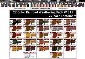 27-COLOR RAILROAD/LOCO Weathering Pigment Set Doctor Ben's Wood Plastic ons8831