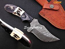 Custom Handmade Damascus Knife Colored wood Stag Handle Leather Sheath
