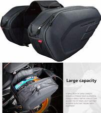 Pair Motorcycle Travel Saddle Bag Rear Pannier Bag Helmet Pack w/ Rain Cover L