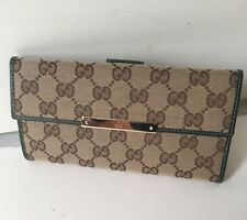 77794e4d9084 Authentic Gucci Beige/ Green GG Canvas Continental Long Wallet