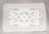 """Vintage Ecru Floral Rectangular Cut-Out Crochet Doily 17"""" x 12"""""""