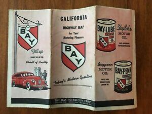 1949 Bay Petroleum road map of California