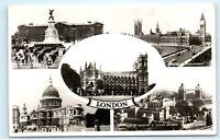 *1950s London England Multi View Victoria Statue Vintage Real Photo Postcard C72
