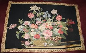 Large Embroidered Tapestry Wall Hanging Bouquet Flowers Colorful Victorian Style