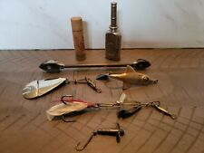 Vintage Fishing Lures and Wooden split Shot tube, Oiler, De-gorger