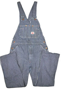Vintage Round House Hickory Striped Denim Bib Overalls Mens 34x32 Made in USA