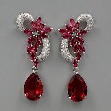 18K White Gold Plated Red Cubic Zirconia CZ Wedding Drop Dangle Earrings 08284