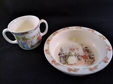 Bunnykins 1988 Royal Doulton Soup Cereal Bowl & Cup Kitchen Baby Girls and Boys