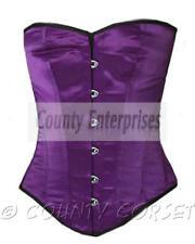 Overbust Full Steel Boned Fullbust Spiral Victorian Bustier Purple Satin Corset
