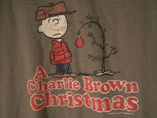 Vtg Peanuts A Charlie Brown Christmas Tree Olive Green T Shirt XL 100% Cotton