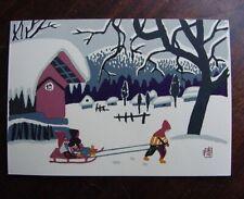 SMALL Phenomenal SNOW SCENE Genuine KIYOSHI SAITO Woodblock Print CHOP SIGNED