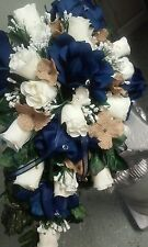 9 PC wedding Package Navy Ivory Burlap or Any Color Bouquets, bout and corsages