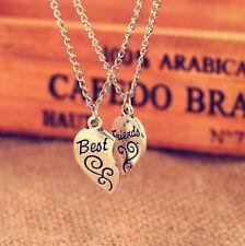 2PC Silver Plated Charm Best Friend Flower Women Chain Pendant Necklace H AOU