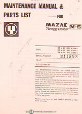 Mazak M-4 & M-5, Turning Center, Maintenance and Parts Mnaual 1975