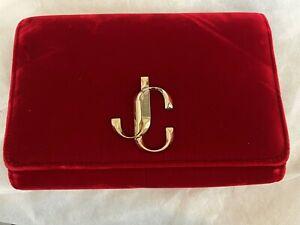 Authentic Jimmy Choo Varenne Clutch Bag Velvet Red A/W 19 Ex Showroom Sample