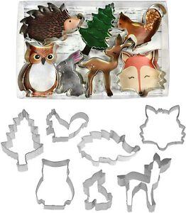 Set of 7 Woodland Forest Animal Cookie Cutters Fox Squirrel Owl Deer Hedgehog